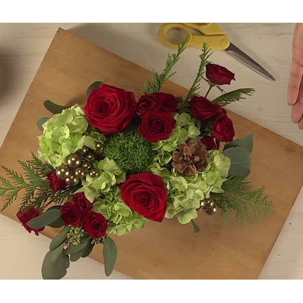 Wood Crate Red & Gold Holiday Floral Centerpiece